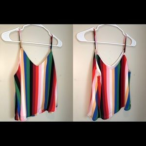 Forever21 Striped chiffon tank top